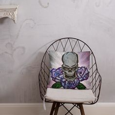 Skull and Flowers Pillow Afternoon Nap, Pillow Fight, Hanging Chair, Skull, Shapes, Pillows, Flowers, Hammock Chair, Cushion