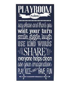 Playroom Rules Wall Art