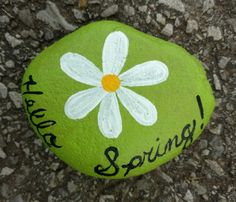 Hello spring rock painting