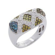 #Malakan #Jewelry - Platinum-Silver Treated Color Diamond Ladies Ring 87490A6 #Fashion #FashionRings #WomensFashion