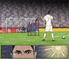 Tiro libre de Ronaldo contra el Barcelonapor Dan Leydon (click for gif)