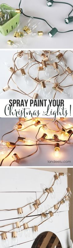 Gold Christmas Decor Spray Paint Your Christmas Lights! Who would have thought!Spray Paint Your Christmas Lights! Who would have thought! Gold Diy, Noel Christmas, Winter Christmas, Green Christmas, Outdoor Christmas, Indoor Christmas Lights, Indoor Lights, Christmas Room, Cheap Christmas