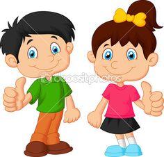 dibujos animados de niño y niña dando pulgar — Ilustración de stock #53335155