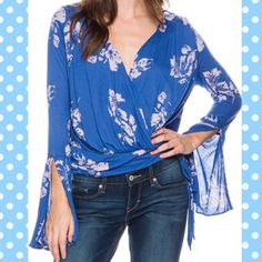 💜 Free People Fiona Wrap Top Cobalt Blue. Free People Fiona Printed Bell-Sleeve Wrap Top. Rayon.  Plunging Surplice Neckline.  Pullover Style.  Ties at side.  Long Bell Sleeves.  Wrap styling.  Hits at hip. Free People Tops