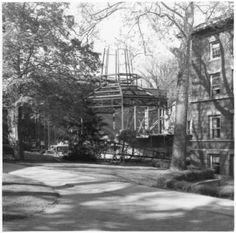 Helen Mauck Galbreath Memorial Chapel construction, viewed from the College Green, 1957 :: Ohio University Archives