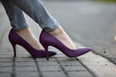 How To Combine Purple and Gray – Hapa Time Hapa Time, Shoes Stand, Shoes Too Big, Beautiful High Heels, Joes Jeans, Grey Leather, Girly Things, Color Combos, Riding Boots