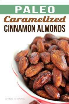 Paleo Caramelized Cinnamon Almond Recipe - Only 3 Ingredients! These are seriously addictive! Check out more recipes like this! Visit yumpinrecipes.com/