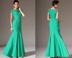 Custom Made New Beaded Cap Sleeves Mermaid Evening Gown by STHNAB, $180.00