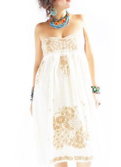 Mexican embroidered dress Birds y Nubes Gold Strapless Heart Corset by Aida Coronado on Etsy, $198.00