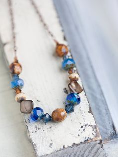 Blue Brown Shell Necklace Earth Tone Copper by beesandbuttercups, $51.00