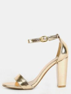 Color: Golden Upper Material: Leather Heel Height: Mid Heel Toe: Peep Toe Strap Type: Ankle strap Heels: Chunky Style: Fashion Accessories: Glitter/Sparkle