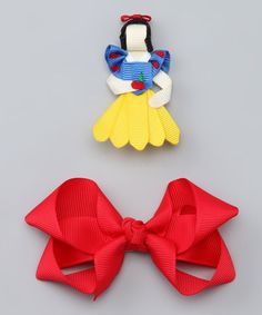 Take a look at this Blue Princess Clip & Red Bow Clip Set by Picki Nicki Hair Bowtique on #zulily today!