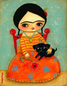 Frida Kahlo with Black Pug DOG sweet PRINT of original by tascha, $15.00