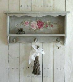 Custom Color and Decorative Vintage Style Roses Shelf Khowell diy furniture Shop Now - Original Hand painted vintage furniture and paintings featuring roses, french women, birds, and tutus by award winning Romantic Shabby Chic Artist Debi Romantic Shabby Chic, Shabby Chic Mode, Casas Shabby Chic, Shabby Chic Interiors, Shabby Chic Bedrooms, Shabby Chic Cottage, Shabby Chic Style, Shabby Chic Furniture, Shabby Chic Decor