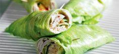 Sla wrap met hummus en kalkoenfilet - Koolhydraatarmerecepten.info