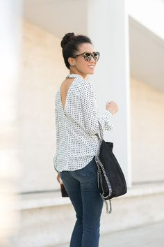 Casual Dots :: Silk blouse & Silver details : Wendy's Lookbook