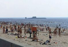 Russian submarine appears on the beach