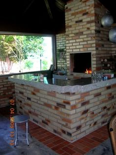 projetos-churrasqueiras-de-tijolos Outdoor Grill Space, Brick Bbq, Rocket Stoves, Barbecue Grill, Back Doors, Sweet Home, New Homes, Backyard, Outdoor Decor
