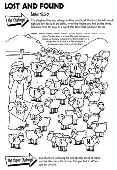 Kids Bible Worksheets-Free, Printable The Lost Sheep Luke