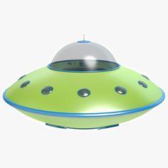 3d model cartoon flying saucer