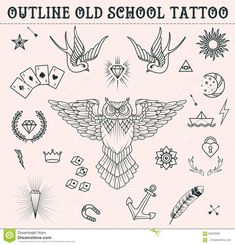 Old School Tattoo Set. Cartoon Tattoo Elements In Funny Style:anchor, Owl…