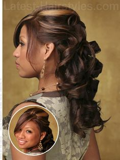 Ribbon curled prom half updo hairstyle