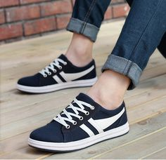Mens #blue casual leather lace up #sneakers sport shoes stripe pattern, leather upper, mesh lining, round toe design.