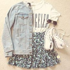 Los Angeles shirt, light denim jacket, floral skirt and high tops
