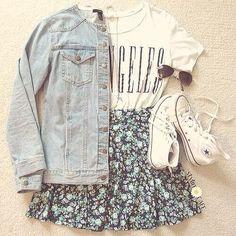 Los Angeles shirt, light denim jacket, floral skirt and high tops