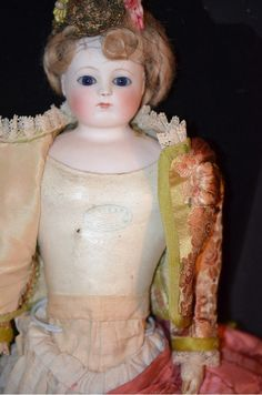 Antique Doll French Bisque Poupee Fashion Lady Barrois Closed Mouth from oldeclectics on Ruby Lane