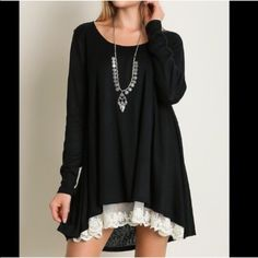 ☀️RESTOCK☀️🏆HOST PICK Lace Front Hem Dress/Tunic Feminine and fun lace trim hemline dress in black. Flirty, flowing, fabulous. 60% cotton, 40% polyester. Hand wash. As with all merchandise, Seller not responsible for fit nor comfort. Brand new w/o tags for boutique retail. No trades, no holding, no offsite payment.          🗣PRICE IS FIRM UNLESS BUNDLED                   💙 Bundle and save 💚 Dresses Mini
