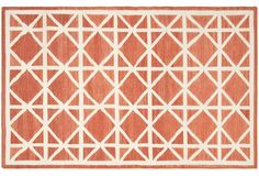 Solitaire Dhurrie, Red/Ivory | One Kings Lane