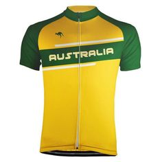 Australia Green and Gold Stripe Cycling Jersey Unique Cycling Jerseys, Team Cycling Jerseys, Cycling Quotes, Cycling Art, Motocross Gloves, Bike Wear, Bicycle Design, Gold Stripes, Wakeboarding