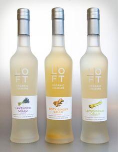 Packaging design for Loft Organic Liqueurs Beautiful #packaging on this organic #liqueur PD