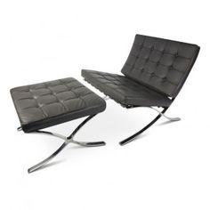 Barcelona chair and ottoman black Premium aniline leather edition set SA