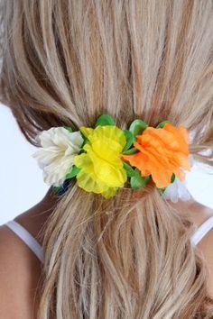 White Multi Floral Accent Scrunchie Headband