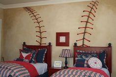 LOVE THIS IDEA!!! baseball mural for boys room ideas