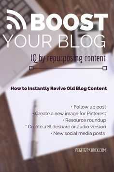 Boost your Blog IQ by Repurposing Content guest post by /rebekahradice/ http://pegfitzpatrick.com/2014/06/23/boost-blog-iq-repurposing-content/