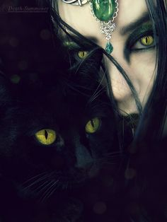 Witch and her familiar.... I love cats and pure black cats are not evil. They are lucky. Unconditional love is what they need. The Incensewoman