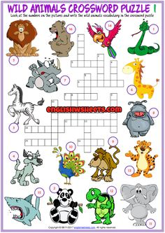 Animals Crossword Puzzle ESL Printable Worksheets English Activities For Kids, English Lessons For Kids, English Worksheets For Kids, Kids English, Learning English, English Class, Animal Worksheets, Vocabulary Worksheets, Printable Worksheets