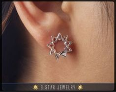 BES3 Sterling Silver Baha'i 9 Star Stud Earrings by 9 Star Jewelry #bahai #bahaijewelry #9starjewelry