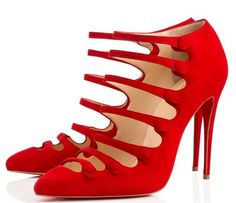 Christian Louboutin Viennana 100 red suede multi-strap pumps, $1,095