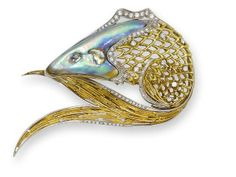 An abalone pearl and diamond fish brooch, by Meister, circa 1975 The leaping fish set with an abalone pearl head, openwork scale body and a tail composed of textured rods, decorated throughout with brilliant-cut diamonds, signed Meister,.