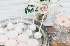 Rose Quartz shoot Styling by Wedding Creations UK  Photography by Bowtie and Belle  Bites by Gold Leaf Bakery http://bridalmusings.com/2016/06/english-garden-wedding/