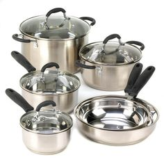 Whether you're a beginner or a gourmet chef, this cookware set has everything you need for a full-fledged feast! Set includes three saucepans, two skillets, a s