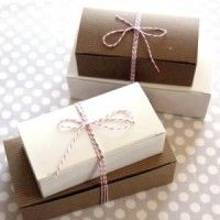 Plain box on the outside, inside of box lined with parchment paper, truffles in individual wrappers on the inside