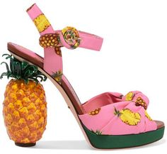 wow! Dolce & Gabbana - Knotted Printed Crepe Platform Sandals - Pink