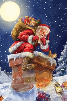 Santa At Chimney With Moon Canvas Art Print by Marcello Corti - Weihnachten Advent Silvester Neujahr - Noel Christmas Scenes, Vintage Christmas Cards, Santa Christmas, Christmas Pictures, Winter Christmas, Christmas Crafts, Christmas Decorations, Father Christmas, Santa Pictures