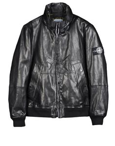 00179  Bomber jacket in treated and waxed leather. Diagonal pockets with visible stitching and snap fastening. Stretch jersey bottom hem and cuffs. Quilted nylon lining. Foldaway hood in raised collar covered with nylon tape. Zip fastening.