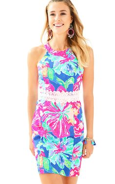 615011aba7d8b ASHLYN SHIFT DRESS - BECKON BLUE JUNGLE UTOPIA-We love everything about the  Ashlyn printed shift. The fitted dress with white lace trim at the waist is  the ...